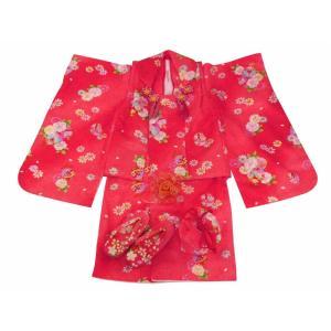 七五三 3歳女の子 総柄 着物 8点セット 被布コートセット 赤 fk-55|koyuki