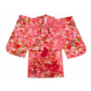 七五三 3歳女の子 総柄 着物 7点セット 被布コートセット ピンク fk-58|koyuki