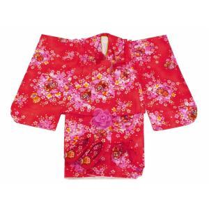 七五三 3歳女の子 総柄 着物 7点セット 被布コートセット 赤 fk-66|koyuki