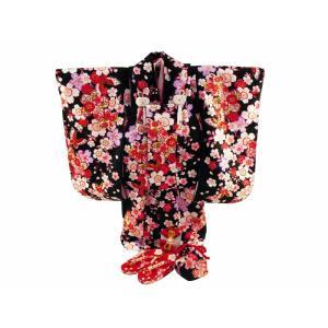 七五三 3歳女の子 総柄 着物 7点セット 被布コートセット 黒着物 fk-78|koyuki