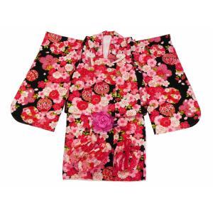 七五三 3歳女の子 総柄 着物 7点セット 被布コートセット 黒着物 fk-79|koyuki