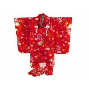 七五三 3歳女の子 総柄 着物 7点セット 被布コートセット 赤着物 fk-82|koyuki