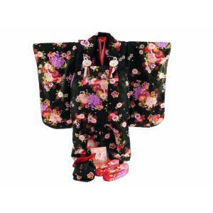 七五三 3歳女の子 総柄 着物 7点セット 被布コートセット 黒着物 fk-83|koyuki