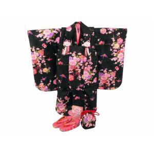 七五三 3歳女の子 総柄 着物 7点セット 被布コートセット 黒着物 fk-84|koyuki