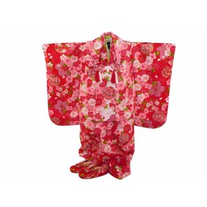 七五三 3歳女の子 総柄 着物 7点セット 被布コートセット 赤 fk-86|koyuki