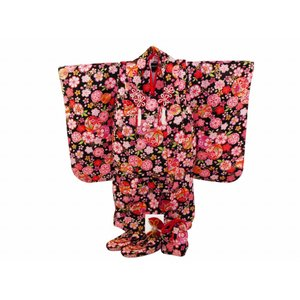 七五三 3歳女の子 総柄 着物 7点セット 被布コートセット 黒 fk-87|koyuki