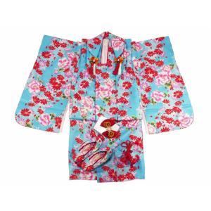 七五三 3歳女の子 総柄 着物 7点セット 被布コートセット ブルー fk-89|koyuki