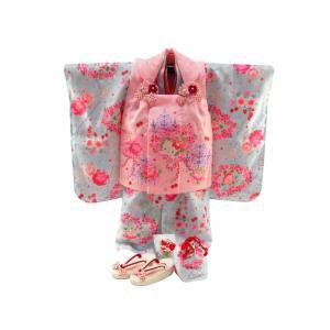 ハローキティ 七五三 3歳女の子 総柄 着物 7点セット 被布コートセット ky-94|koyuki