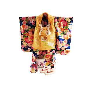 式部浪漫 正絹 七五三着物 3歳 祝い着7点セット 被布コートセット 青地に牡丹 SKB-8|koyuki