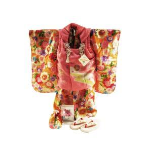 式部浪漫 正絹 七五三着物 3歳 祝い着7点セット 被布コートセット 橙地に牡丹 SKB-10|koyuki