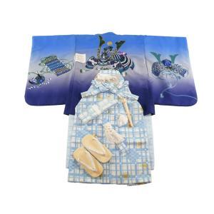 キクチリョウコ アンサンブル&袴 男の子用 祝着フルセット 五歳 男児着物 かぶと 5h-36|koyuki
