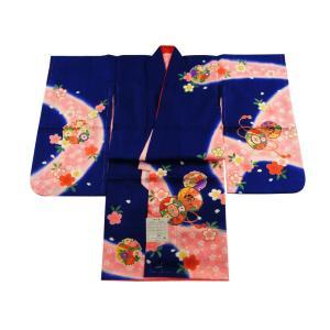 七五三着物 3歳用 三ッ身着物 長襦袢 重ね衿 3点セット 紺系 3k-18|koyuki
