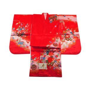 七五三着物 3歳用 三ッ身着物 長襦袢 重ね衿 3点セット ローズピンク系 3k-19|koyuki