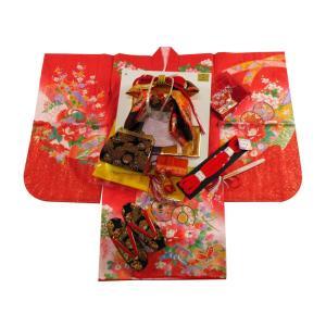 七五三着物 3歳用 絵羽柄 三ッ身着物・結び帯 小寸・箱せこセット 赤着物 3k-21|koyuki