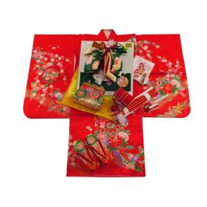 七五三着物 3歳用 絵羽柄 三ッ身着物・結び帯 小寸・箱せこセット 朱赤着物 3k-23|koyuki