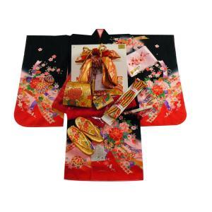 七五三着物 3歳用 絵羽柄 三ッ身着物・結び帯 小寸・箱せこセット 黒赤着物 3k-24|koyuki