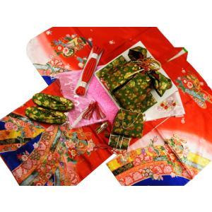 七五三着物 7歳用 四ッ身着物・結び帯・箱せこセット 赤着物 深緑帯 7k-13|koyuki