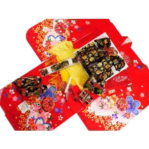 七五三着物 7歳用 四ッ身着物・結び帯・箱せこセット 赤系着物 黒帯 7k-22|koyuki
