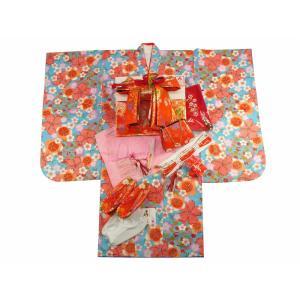 7歳用 フルセット 総柄 四ッ身着物 金加工 結び帯 大寸 箱せこセット 青着物 撫子柄 7kk-55|koyuki