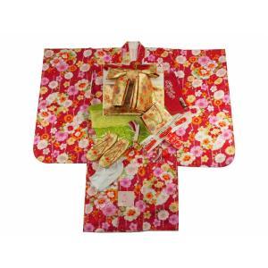 7歳用 フルセット 総柄 四ッ身着物 金加工 結び帯 大寸 箱せこセット 赤着物 雪輪柄 7kk-56|koyuki
