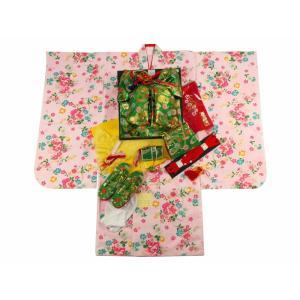 7歳用 フルセット 総柄 四ッ身着物 金加工 結び帯 大寸 箱せこセット 白着物 花柄 7kk-58|koyuki