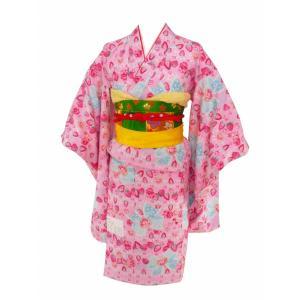 メゾピアノ 7歳用 総柄 四ッ身着物 襦袢付き ピンク着物 リボン柄 7kk-60|koyuki