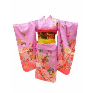 7歳用 絵羽柄 金加工入り 四ッ身着物 襦袢付き ラベンダー着物 7kk-78|koyuki