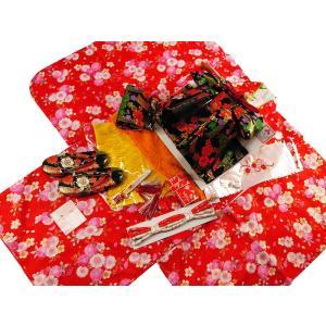 花ひめ ブランド 7歳用 四つ身着物・結び帯・箱せこセット 赤地着物 黒帯417|koyuki