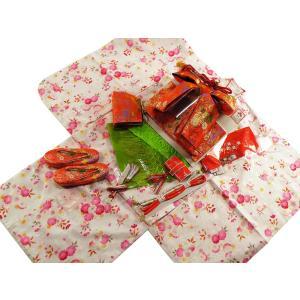 花ひめ ブランド 7歳用 四つ身着物・結び帯・箱せこセット 白地着物 赤帯491|koyuki
