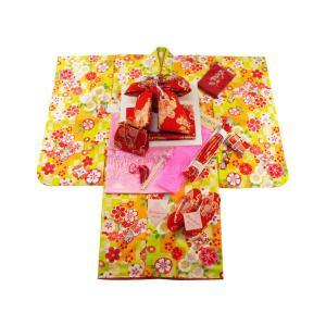 式部浪漫 ブランド 7歳用 四ッ身着物 結び帯・箱せこセット 総柄 黄緑色着物 赤帯 7kk-14|koyuki