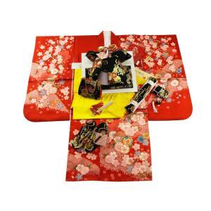 七五三着物 絵羽柄 正絹 7歳用 四ッ身着物 式部浪漫 結び帯・箱せこセット 赤系着物 黒帯 7kk-19|koyuki