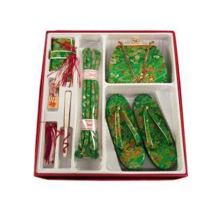 七五三 七歳用 草履バッグ 箱せこセット 新品 ho-58 草履21cm 緑系|koyuki