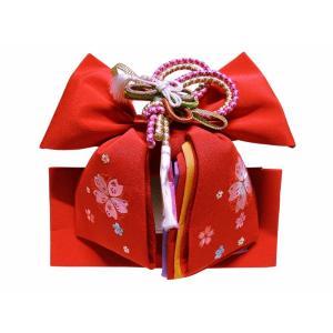 七五三 七歳用 刺繍入り 結び帯 中寸 単品 新品 ME-170 帯飾り付き|koyuki