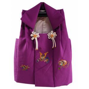 男児 三歳用 被布コート カブト 赤紫系 hd-93|koyuki
