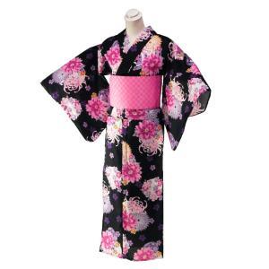 セパレート 浴衣 上下に分かれた お仕立て上がり ゆかた フリーサイズ 黒地 ta-210|koyuki