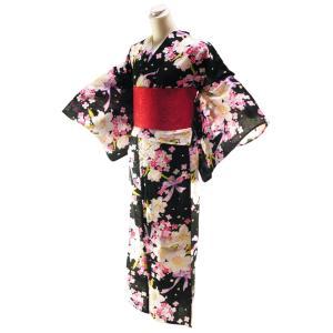 ゆかた 2点セット 仕立て上がり 浴衣 麻の葉柄帯 フリーサイズ 身丈163cm 黒地 2yk-98|koyuki