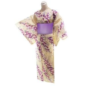 訳あり ゆかた 2点セット 仕立て上がり 浴衣 フリーサイズ 浴衣帯紫 身丈163cm クリーム地 2yk-99|koyuki