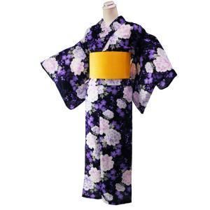 セット売り ゆかた 2点セット ラメ入り 変わり織り 仕立て上がり 浴衣 フリーサイズ 麻の葉柄帯 黄 身丈163cm 黒地 2yk-111|koyuki