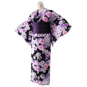 ゆかた 2点セット ラメ入り 変わり織り 仕立て上がり 浴衣 フリーサイズ 麻の葉柄帯 紫 身丈163cm 黒地 2yk-112|koyuki