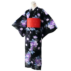 ゆかた 2点セット ラメ入り 変わり織り 仕立て上がり 浴衣 フリーサイズ 麻の葉柄帯 赤 身丈163cm 黒地 2yk-113|koyuki
