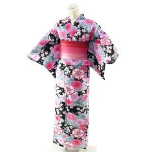 ゆかた 綿 仕立て上がり 浴衣 単品 フリーサイズ 身丈163cm 57-10 黒地 koyuki