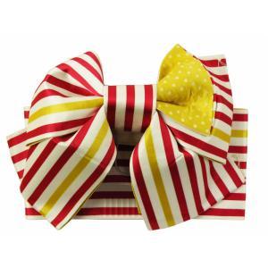 浴衣帯 作り帯 赤と黄 ストライプ柄 her-131-a|koyuki