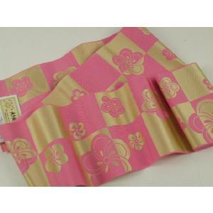 本場筑前博多織  正絹  浴衣帯 証紙付 四寸三分単帯 ピンク地 11|koyuki