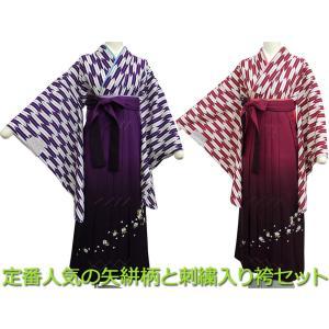 二尺袖 着物 袴 2点セット 紫とエンジ 定番の矢絣柄 刺繍入りぼかし袴 全2色 haki-10 S M Lサイズ koyuki