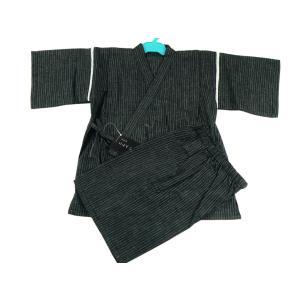 定番 キッズ 男の子用 甚平 しじら織 110〜150cm 黒縞 k-140|koyuki