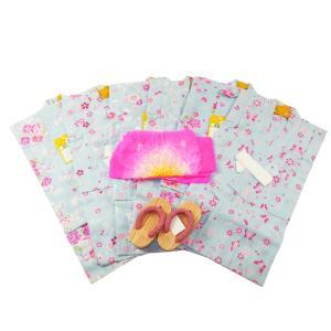 セット売り 訳あり 浴衣3点セット 子供 ゆかた 変わり織 仕立て上がり浴衣 兵児帯と草履付 3〜4才用 全6柄 kn-25|koyuki