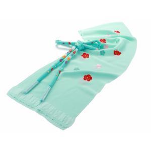 刺繍入り 正絹 振袖用小物 帯揚げ 帯び締め 2点セット ブルー 561|koyuki