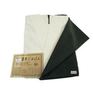 紳士用 絹のおしゃれ 無双仕立 袖 身頃着脱式 半襦袢 Lサイズ 黒地袖 hs-28|koyuki