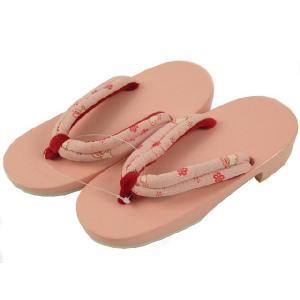 とっても軽い 桐 下駄 女の子用 浴衣下駄 16.5・19.5cm ピンクにうさぎ koyuki