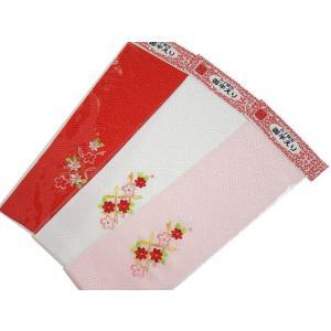 お子様用 金加工入り 刺繍 半衿 選べる赤・白・ピンクの3色|koyuki